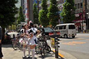 In Akihabara struikel je op straat op de maids, die je proberen enthousiast te maken voor een bezoek aan een maidcafe.